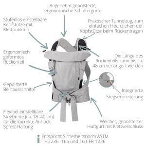 SALE HOPPEDIZ® Bondolino Plus marine-Stern Popeline Babytrage